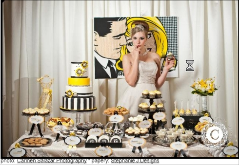 toronto wedding cakes hip yellow black white modern candy dessert bar display fake wedding cake rental envy cake