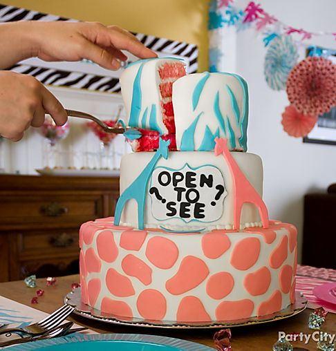 cut the baby shower cake open to reveal gender of your baby